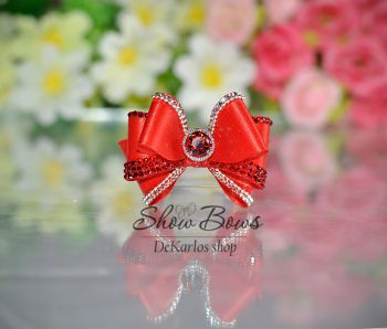 1179 Vintage Bows red with  Zircon