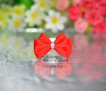 1180 Vintage Bows red with  Zircon 1