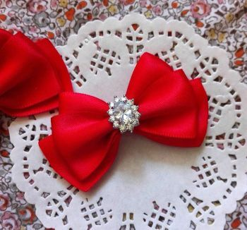 Vintage Show bows for yorkie Red glossium