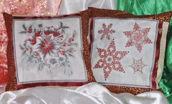 "Set of New Year pillows ""Magic Christmas 1"" silver"