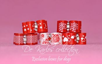 Set Puppy bows Red&White 5